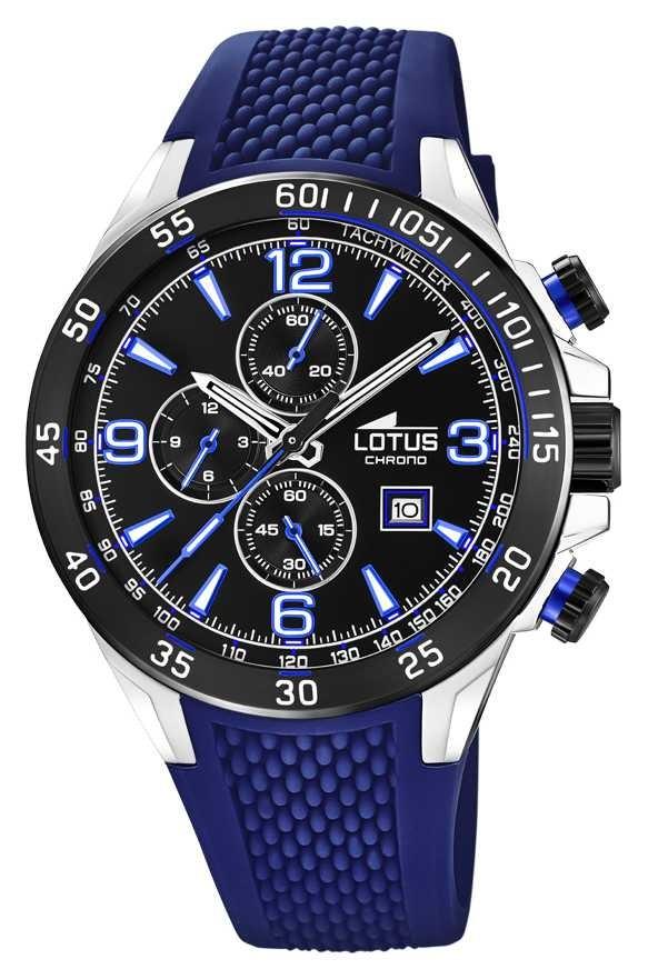 Lotus Men's Blue Silicone Strap   Black Chronograph Dial L18673/8