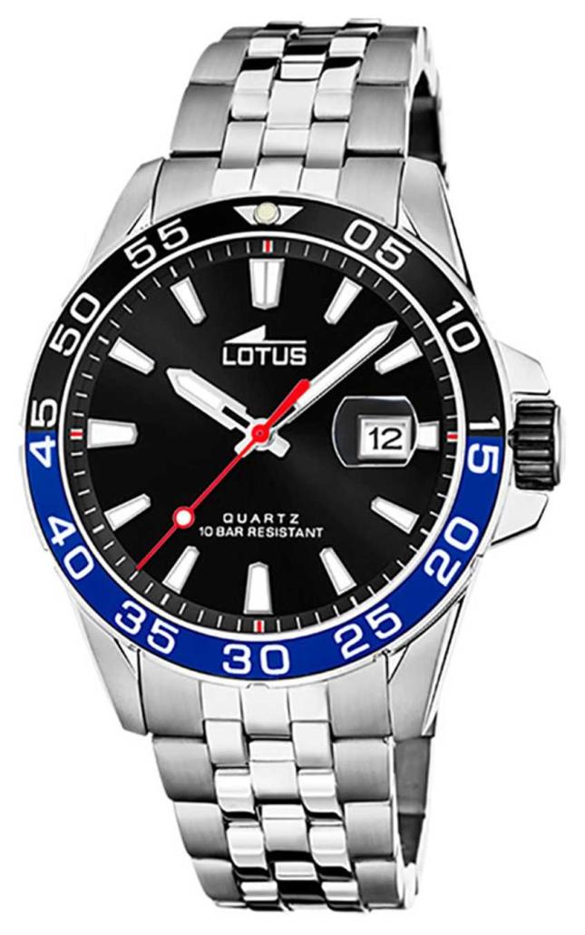 Lotus Men's Stainless Steel Bracelet | Black Dial | Black/Blue Bezel L18766/4