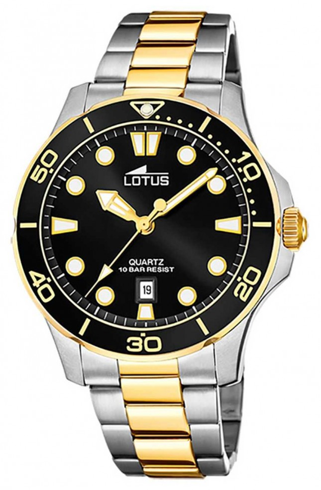 Lotus Men's Two-Tone Stainless Steel Bracelet   Black Dial L18760/2