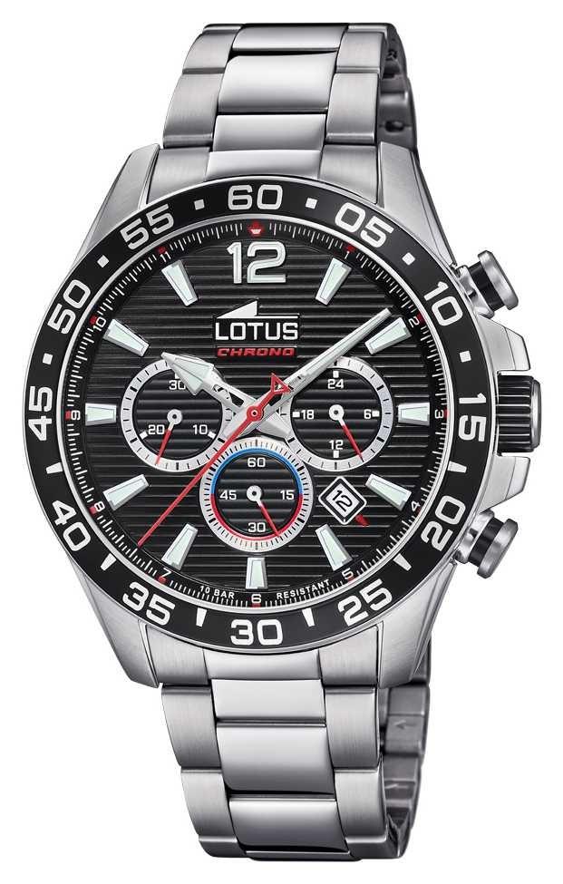 Lotus Men's Stainless Steel Bracelet   Black Chronograph Dial L18696/4
