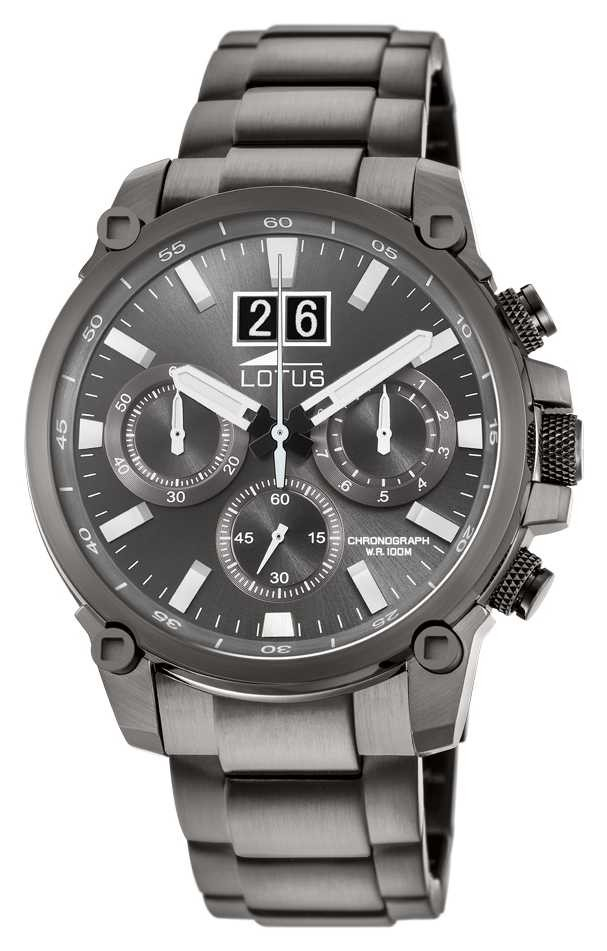 Lotus Men's Grey Stainless Steel Bracelet   Grey Chronograph Dial L10140/1