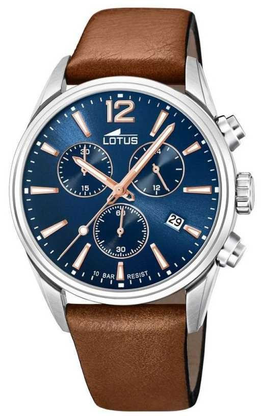 Lotus Men's Brown Leather Strap   Blue Chronograph Dial L18691/2