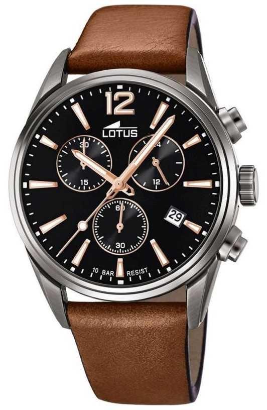 Lotus Men's Brown Leather Strap   Black Chronograph Dial L18683/2