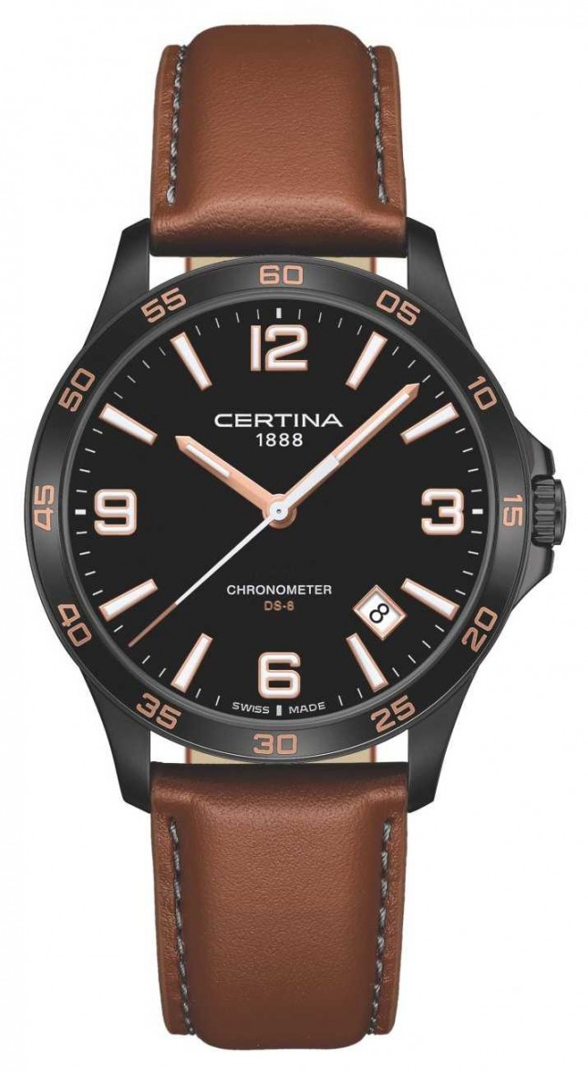 Certina | DS-8 | Brown Leather Strap | Black Dial | Quartz | C0338513605700
