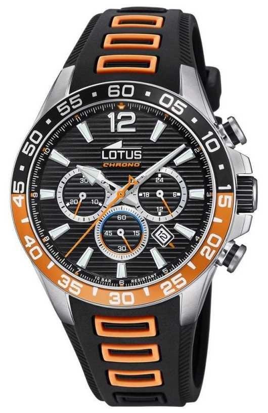 Lotus Men's Black/Orange Silicone Strap   Black Chronograph Dial L18697/1