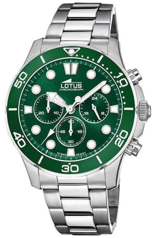 Lotus Men's Stainless Steel Bracelet   Green Chronograph Dial L18756/2