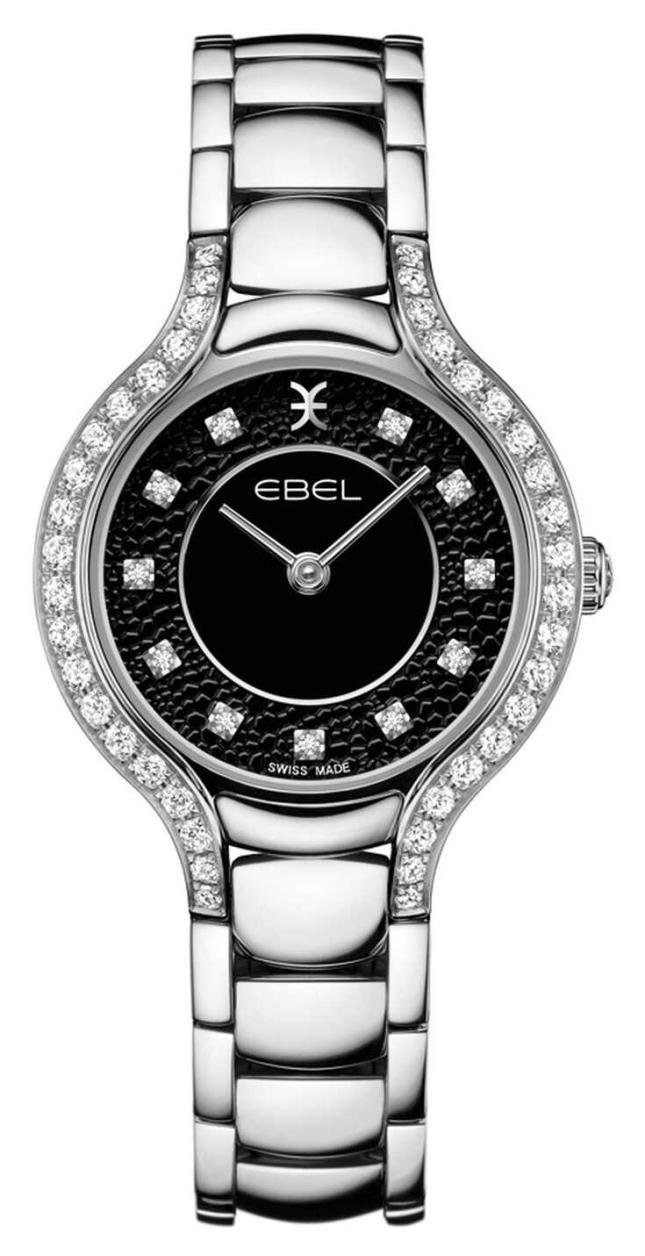 EBEL Women's Beluga   Stainless Steel Bracelet   Black Dial   Diamond Set 1216466