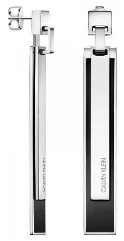 Calvin Klein Empower   Stainless Steel & Black Drop Earrings KJAQME090100
