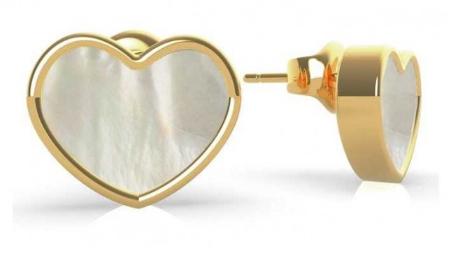 Guess Sea Gift | Mother Of Pearl Heart Stud Earrings | Gold UBE79019