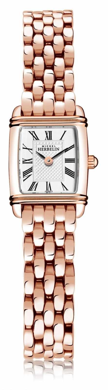 Michel Herbelin Art Déco   Women's Rose Gold Plated Steel Bracelet   White Dial   Roman Numeral  17438/PR08B