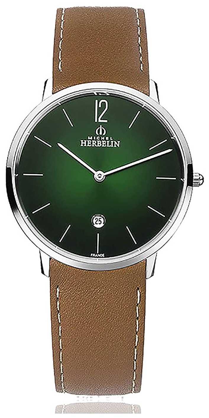 Michel Herbelin City | Men's Brown Leather Strap | Green Dial 19515/16NGO