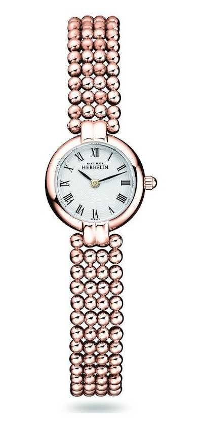 Michel Herbelin Perles | Women's Rose Gold Plated Steel Bracelet | White Dial 17433/BPR08