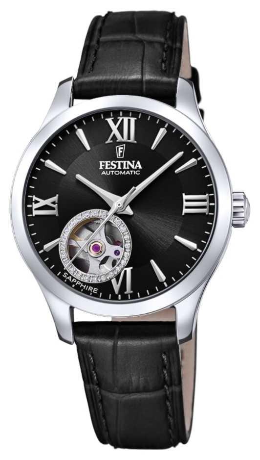 Festina Women's  Automatic   Black Leather Strap   Black Dial F20490/3