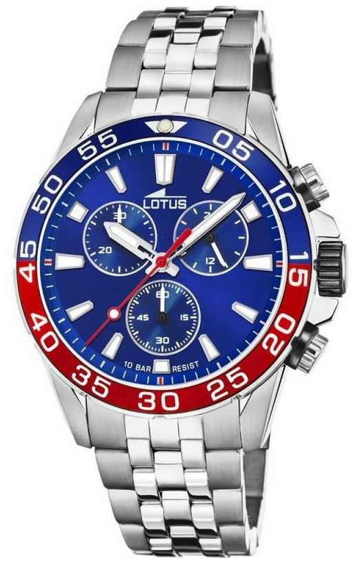 Lotus Men's Stainless Steel Bracelet | Blue Dial | Blue/Red Bezel L18765/3