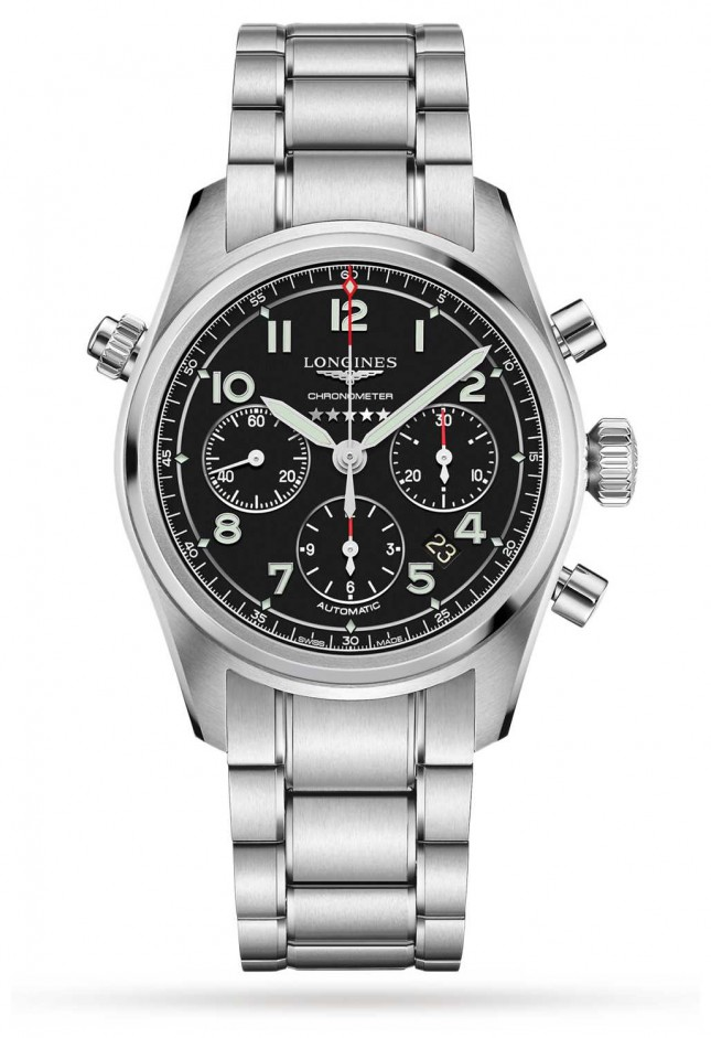 Longines Spirit Chronograph Automatic Black Dial Stainless steel L38204536
