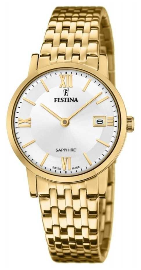 Festina Women's Swiss Made | Gold Plated Steel Bracelet | Silver Dial F20021/1