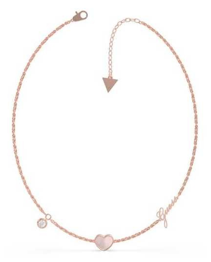Guess Sea Gift | Mother Of Pearl Heart | Rose Gold Charm Necklace UBN79017
