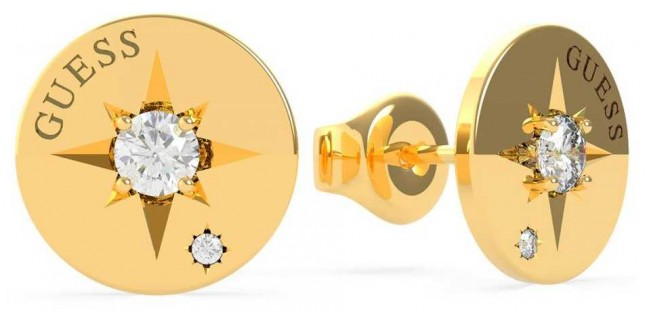 Guess Wanderlust | Gold Plated Compass & Crystal Set Earrings UBE20018