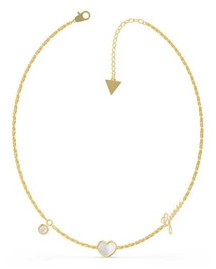 Guess Sea Gift | Mother Of Pearl Heart | Gold Charm Necklace UBN79016