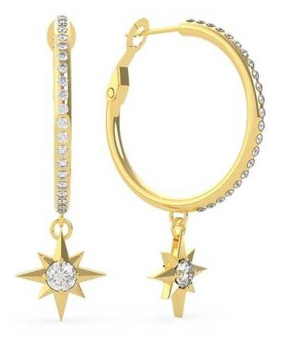 Guess Wanderlust | Gold Plated Compass Charm & Pave Hoop Earrings UBE20024