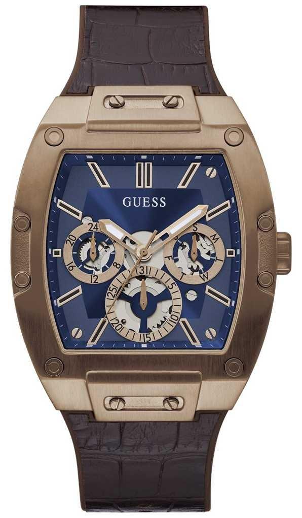Guess Phoenix | Men's Brown Leather Strap | Blue Dial GW0202G2