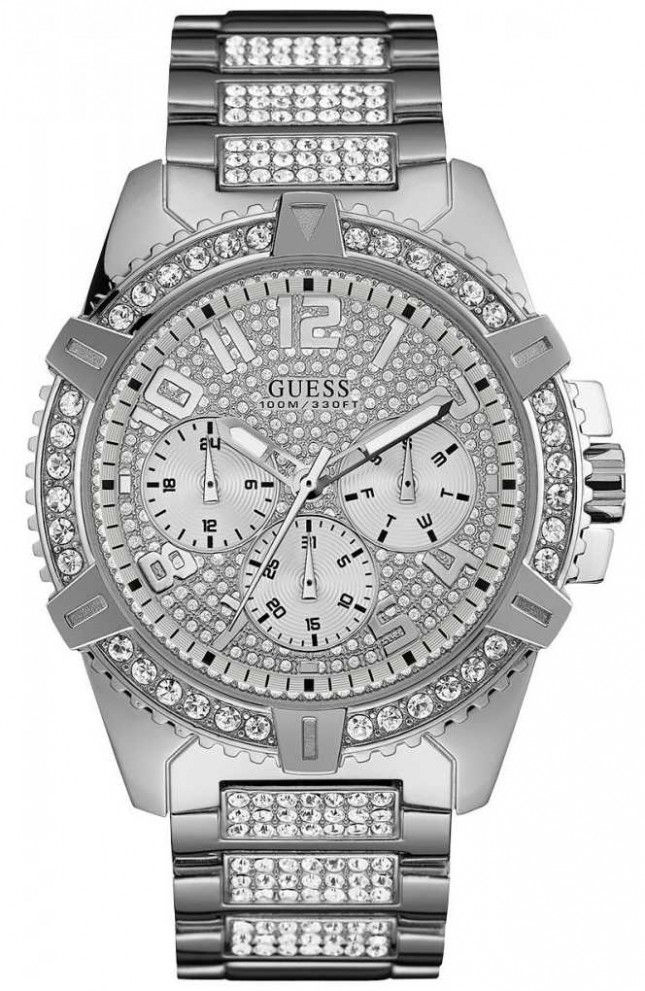 Guess Frontier | Men's Stainless Steel Bracelet | Silver Crystal Set Dial W0799G1