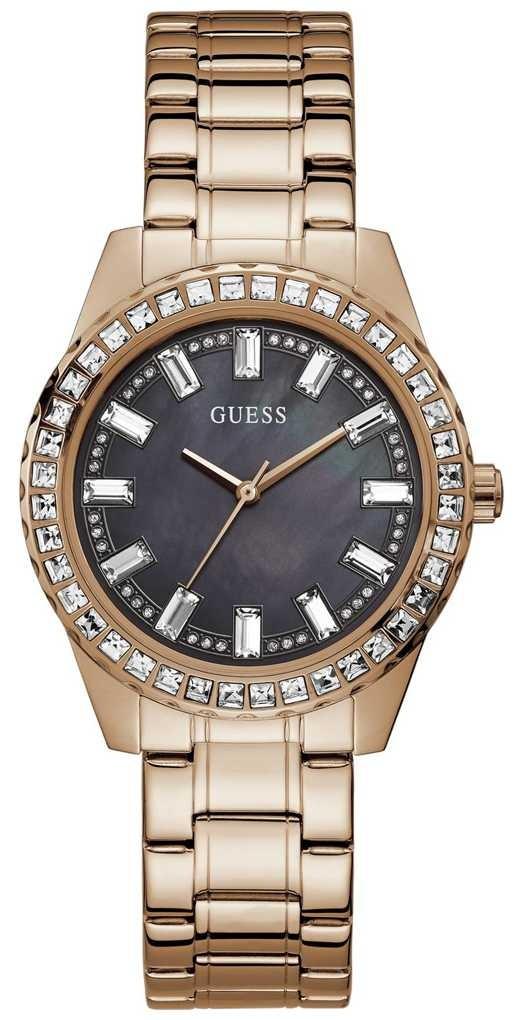 Guess Sparkler   Women's Rose Gold Plated Bracelet   Black Mother Of Pearl Dial GW0111L3