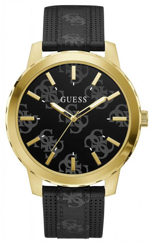 Guess Men's Outlaw | Black Leather Strap | Black Logo Dial GW0201G1