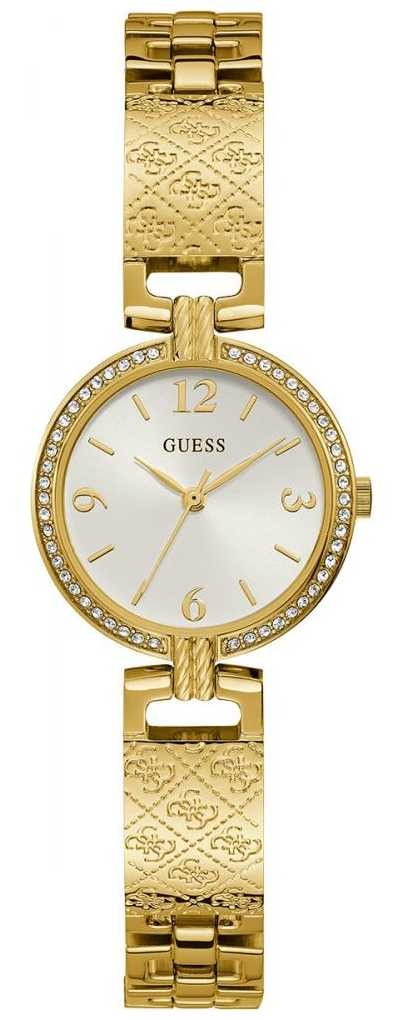 Guess Mini Luxe | Women's Gold Plated Bracelet | White Sunray Dial GW0112L2