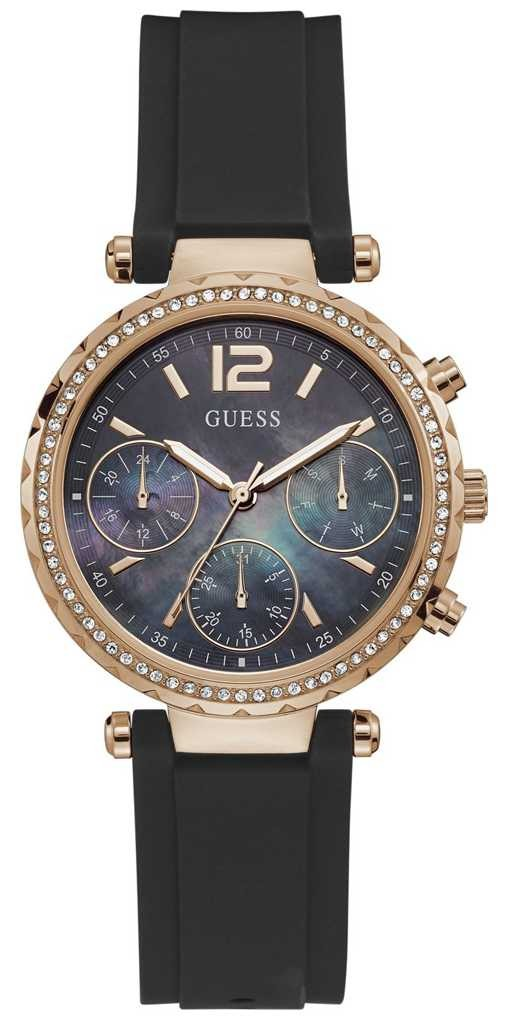 Guess Solstice | Women's Black Silicone Strap | Black Mother Of Pearl Dial GW0113L2