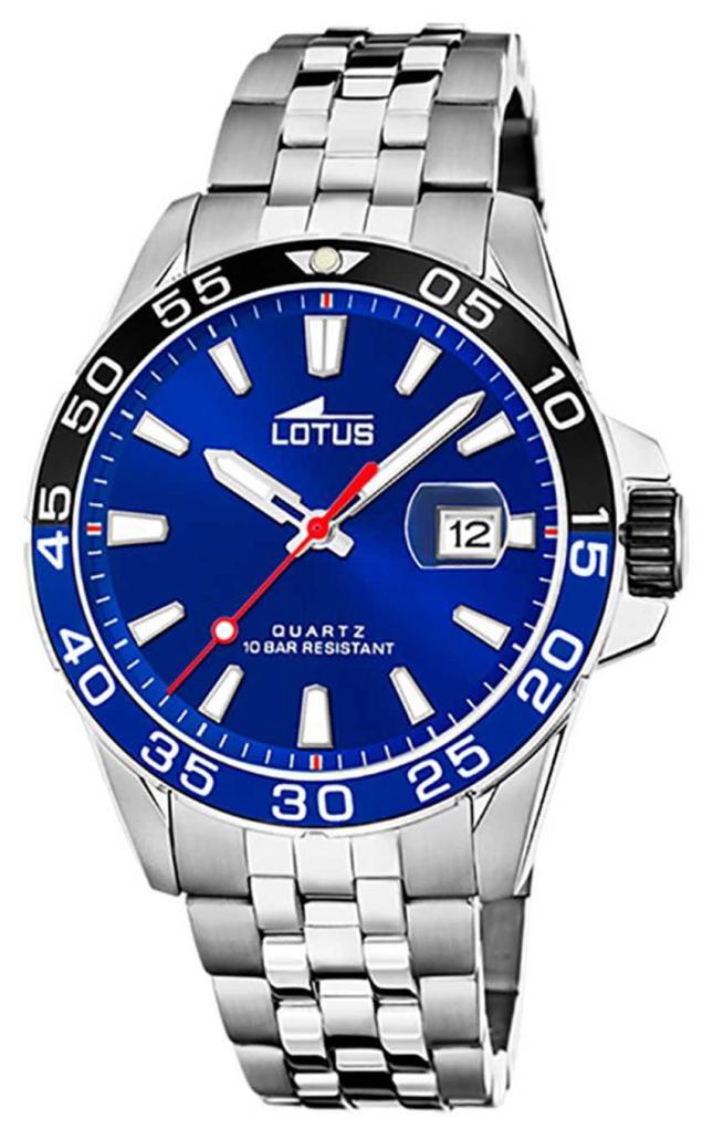 Lotus Men's Stainless Steel Bracelet | Blue Dial | Black/Blue Bezel L18766/1