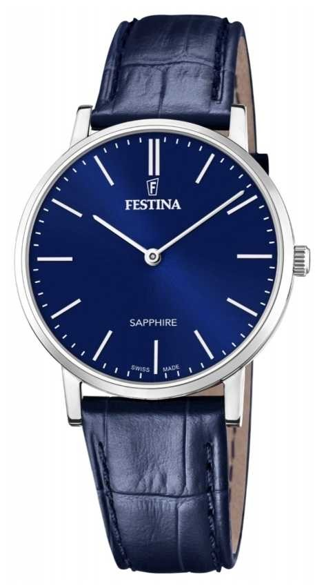 Festina Men's Swiss Made | Blue Leather Strap | Blue Dial F20012/3