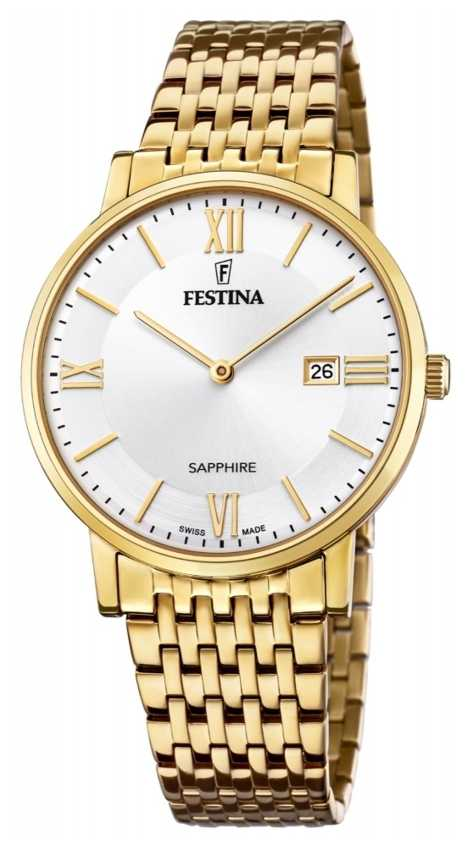 Festina Men's Swiss Made | Gold Plated Steel Bracelet | Silver Dial F20020/1