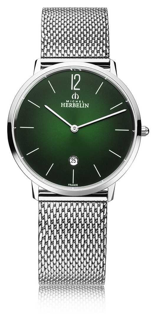 Michel Herbelin City | Men's Steel Mesh Bracelet | Green Dial 19515/16NB