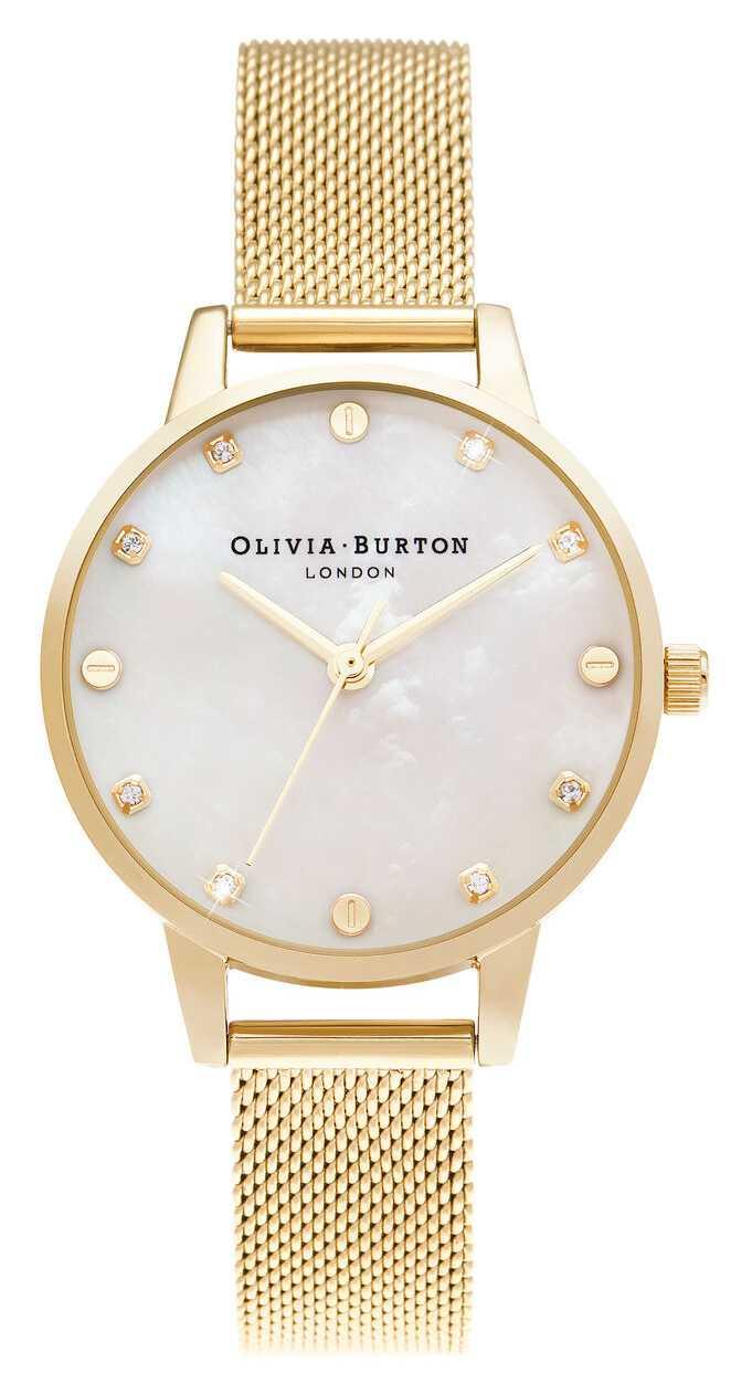 Olivia Burton | Midi MOP Dial With Screw Detail | Pale Gold Mesh Bracelet | OB16SE08