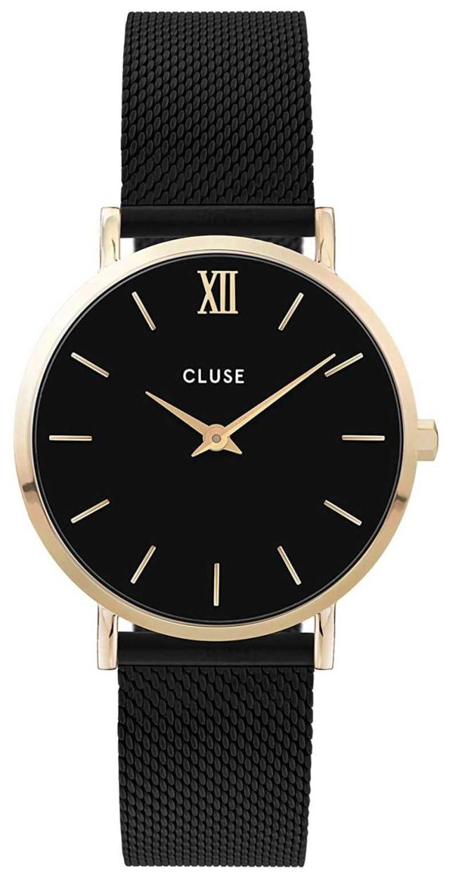 CLUSE Women's Minuit | Black Mesh Bracelet | Black Dial CW0101203009