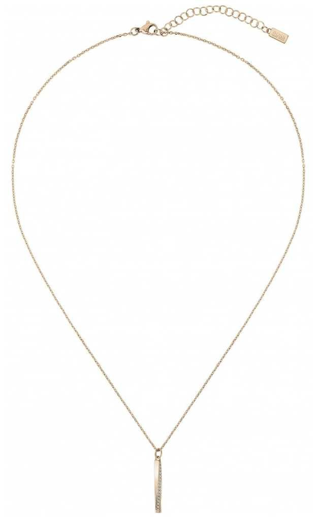 BOSS Jewellery Signature Necklace – Gold IP Twisted Bar Chain Pendant 1580131