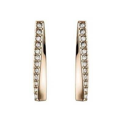 BOSS Jewellery Signature Carnation Gold IP Twisted Bar Earrings – Crystal Set 1580132