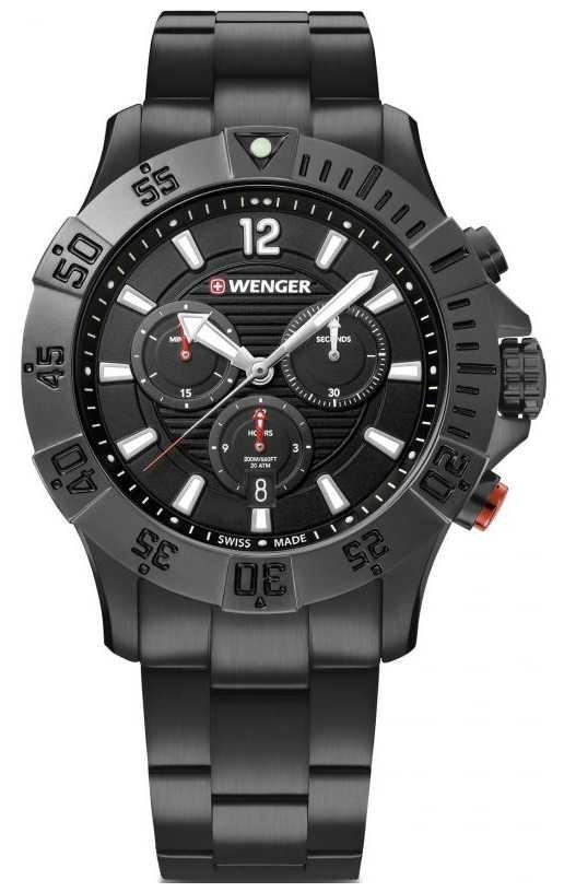 Wenger Seaforce Chrono 43mm | Black Stainless Steel Bracelet 01.0643.121