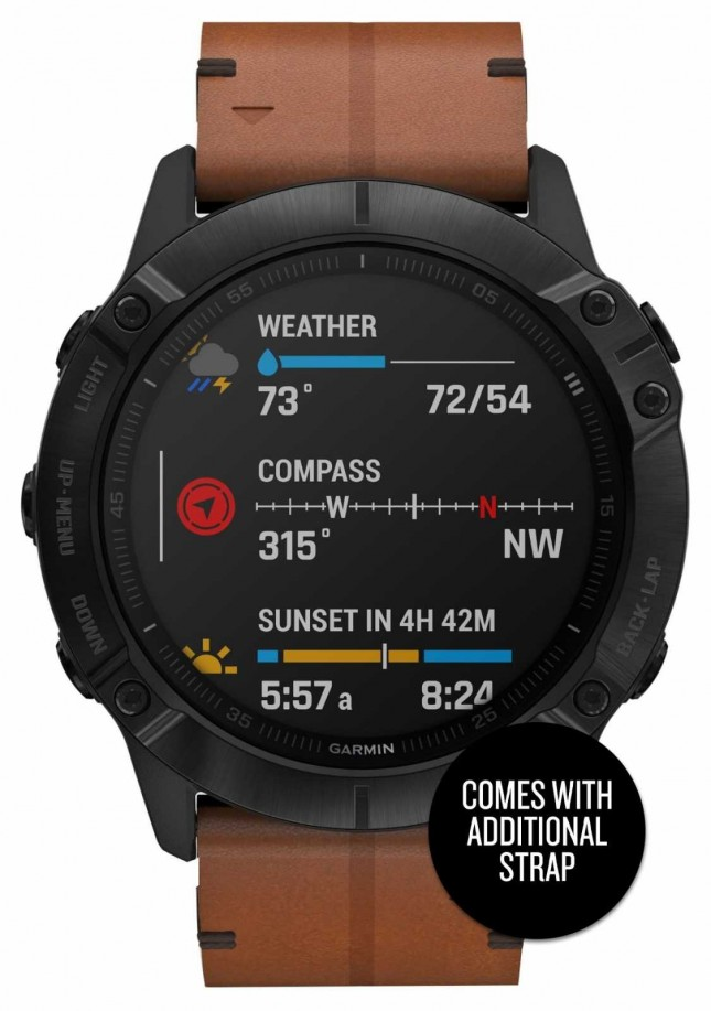 Garmin Fenix 6X Pro Sapphire | Black DLC Brown Leather Strap and Black Rubber Strap 010-02157-14