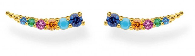 Thomas Sabo 18k Yellow Gold Plated Colourful Stones Ear Climbers H2158-488-7