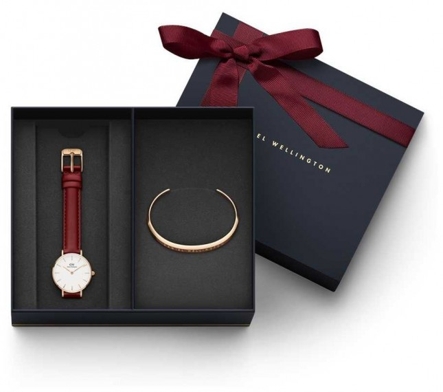 Daniel Wellington Women's Red Leather Watch & Rose Gold Bangle Gift Set DWGIFTSET