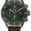 Tommy Hilfiger Men's Trent   Brown Leather Strap   Green Dial 1791809