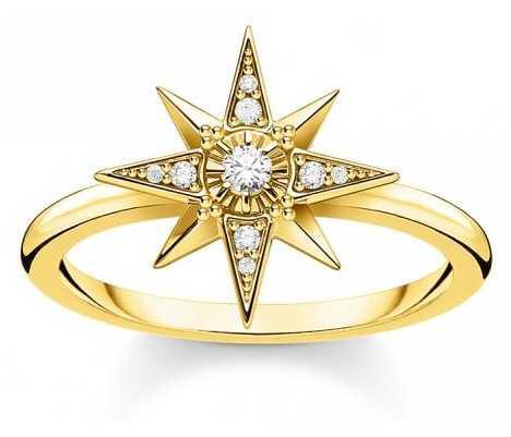 Thomas Sabo 18k Yellow Gold Plated Star Ring   EU 54 (UK N) TR2299-414-14-54