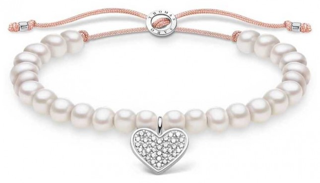 Thomas Sabo White Pearl Adjustable Bracelet | Pave Heart 13 cm to 20 cm A1986-199-14-L20V