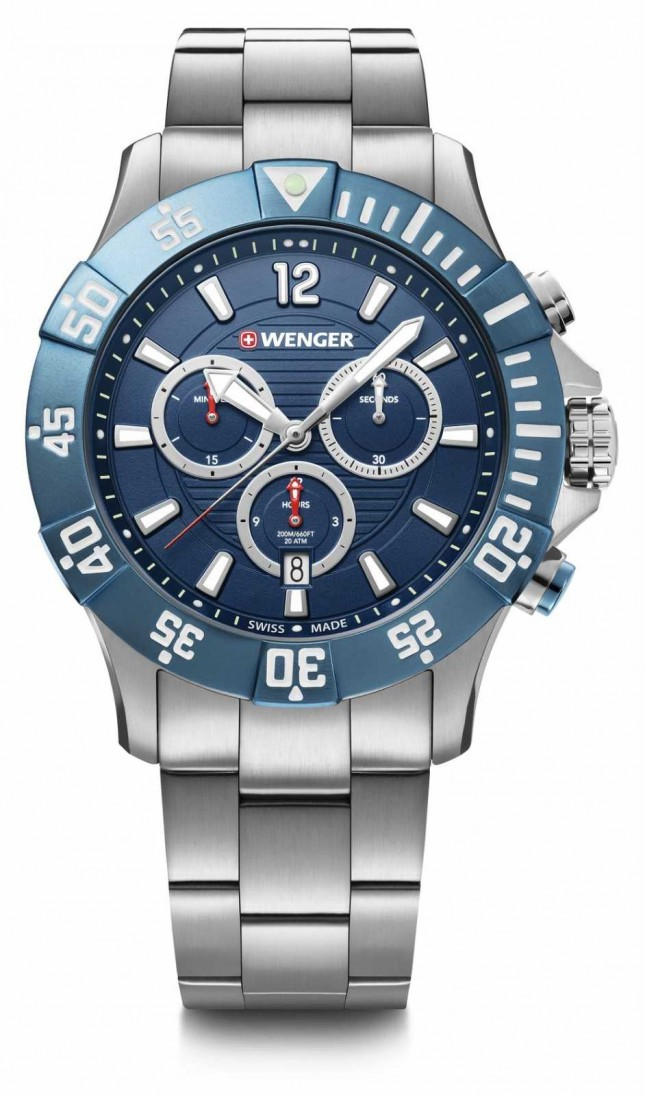 Wenger Seaforce Chrono 43mm | Stainless Steel Bracelet | Blue Dial 01.0643.119