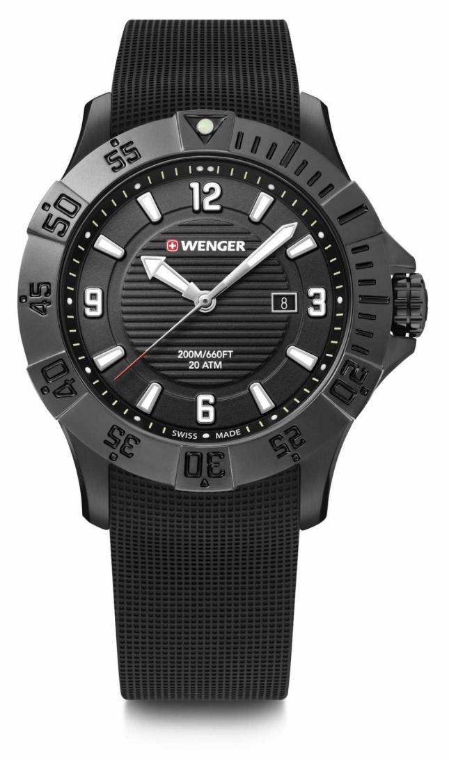 Wenger Seaforce 43mm | Black Rubber Strap | Black Dial | 01.0641.134