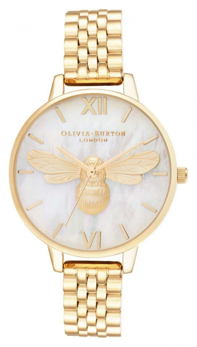 Olivia Burton Lucky Bee Mother of Pearl Demi Dial Gold Bracelet OB16FB18