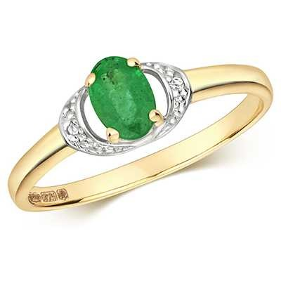 Treasure House 9ct Yellow Gold Oval Diamond And Emerald Ring RD479E