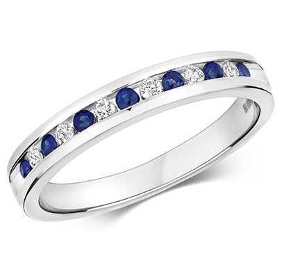 Treasure House 9ct White Gold Diamond Sapphire Half Eternity Ring RD582WS